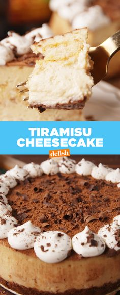 This is WAY better than the one you'll get at The Cheesecake Factory. Get the recipe at Delish.com. #recipe #easyrecipes #tiramisu #cheesecake #cheese #dessert #coffee #cheese #whippedcream