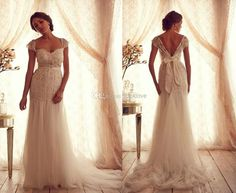 Discount Stunning A-Line Anna Campbell 2013 Wedding Dresses Sheer Cap Sleeves Straps Lace Corset with Beads Crystal Sash Tulle Skirt Court Train Online with $168.0/Piece | DHgate