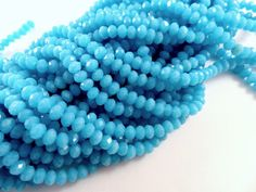 75 Sky Blue Glass Beads Opaque Faceted Rondelle Abacus 4x3mm - 75 pc - G6063-SKB75 by allearringsandsuppli on Etsy