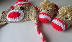 Sock Monkey Set Made to Order Crochet Baby by ElleYarnCreations, $38.00