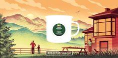 Davide Bonazzi - Breakfast blend. Client: Keurig Green Mountain Coffee. #advertising #illustration #coffee #food #breakfast #morning #chalet #lodge #mountain #valley www.davidebonazzi.com