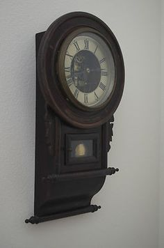 Antique Japanese Hand Carved Wall Clock Circa 1920 8day
