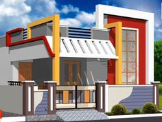 Independent house... House Outer Design, Single Floor House Design, Modern House Floor Plans, House Front Design, Dream House Plans, Minimalist House Design, Modern House Design, House Elevation, Front Elevation
