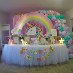 1st Birthday Party For Girls, Unicorn Themed Birthday Party, Rainbow Birthday, Birthday Party Decorations, Birthday Ideas, 1st Birthdays, Party Ideas, Buenas Ideas, Ideas Originales