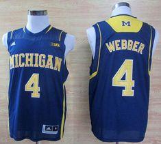 5d082ec5184 Wolverines  4 Chris Webber Navy Blue Basketball Stitched NCAA Jersey  Football Jerseys