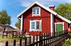 Image of 'Red summer scandinavian house' on Colourbox