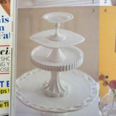 Milk glass cake plates