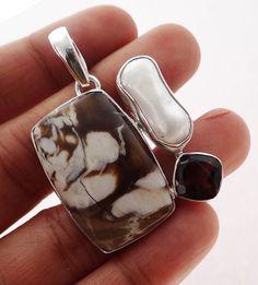 Peanut Wood  Jasper 925 Solid Sterling silver Pendant Jewelry (PNW-1) #Rananjay #HandmadePendant