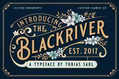 BLACKRIVER FONT + ORNAMENT SET - Display