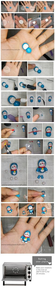 How to make clay Doraemon DIY step by step tutorial instruction