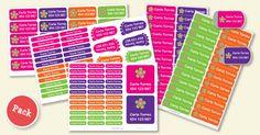 Etichette personalizzate adesive e termoadesive, per vestiti, scarpe, oggetti e zaini. Perfette per l'inizio della scuola e dell'asilo. Spedizione gratis