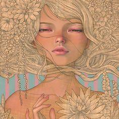 "Art I love... Audrey Kawasaki's Art's painting ""Enchantress""  #beautifulbizarre #art #culture #TheVintagePunk"