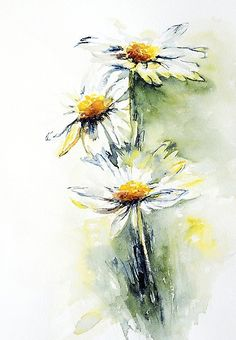 Daisy Chain by Stephie Butler - Daisy Chain Painting - Daisy Chain Fine Art Prints and Posters for Sale Watercolor Daisy Tattoo, Watercolor And Ink, Watercolour Painting, Watercolor Flowers, Painting & Drawing, Daisy Painting, Watercolors, Daisy Drawing, Daisy Art