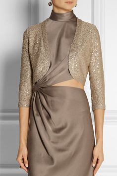 Taupe silk-blend Slips on silk, polyester Dry clean Gowns Of Elegance, Elegant Gowns, Cashmere Cardigan, Sweater, Hand Work Embroidery, Gold Sequins, Diane Von Furstenberg, Two Piece Skirt Set, Style Inspiration