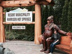 Many thanks to Randi S. Johnsen for this photo of her posing with our beloved Sasquatch in Harrison Hot Springs.