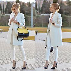 As seen on 'Oh My Vogue'. Business Outfits, Office Outfits, Office Wear, Office Uniform, Casual Office, Stylish Office, White Coat Outfit, Pret A Porter Feminin, Looks Chic