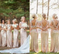 Long Gold Sequin Bridesmaid Dress Short Sleeve Floor Length Gold Colored Bridesmaid Dresses Prom Gown Gold Bridesmaid Gowns-in Bridesmaid Dresses from Weddings & Events on Aliexpress.com | Alibaba Group