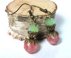 Cherry Quartz Earrings with Mint Green by NancysCrystalFantasi, $18.00