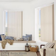 Keep it light and minimal with Butler Blinds Vertical Blind Collection. Blinds For You, Blinds For Windows, Perfect Fit Blinds, Fitted Blinds, Best Blinds, Blinds Online, Interior Sliding Barn Doors, Painting Trim, Decorating With Pictures