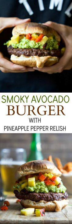 Smoky Avocado Burgers topped with a Pineapple Pepper Relish! These burgers don't run short on flavor, they are juicy, tender, mouthwatering basically everything you want in a Burger + more!   http://joyfulhealthyeats.com