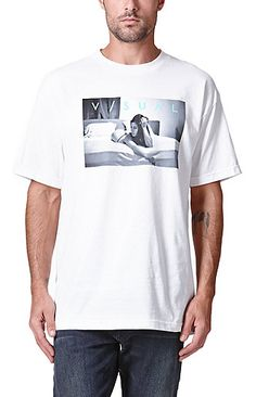 f1b7bea30b PacSun presents the Visual by Van Styles Ponder T-Shirt. This comfortable  tee comes with a black and white graphic on front with a mint green Visual  logo on ...