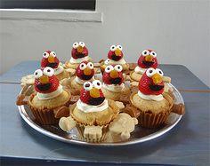 Elmo Strawberry Cupcake