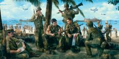 The Victors by Matt Hall Ww2 Pictures, Ww2 Photos, Military Art, Military History, Hall Painting, Military Drawings, Us Marine Corps, Usmc, World War Ii