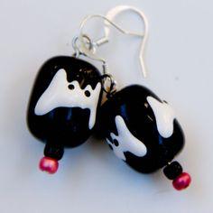 Earrings Halloween black white glass lampwork by earwingsandthings