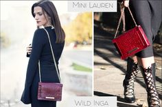 A burgundy leather bag with croco effect is perfect for a chic outfit @wil