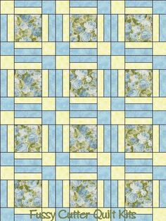 Heaven Can Wait Northcott Blue Roses Shabby Chic Floral Fabric Easy Pre-Cut Quilt Blocks Top