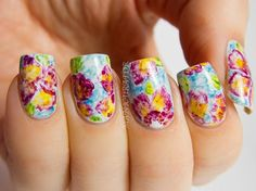 freehand artistic flowers spring summer nails