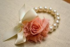 Grace: Ivory Pearl Corsage Bracelet with Ivory by HarleyMaeDesigns