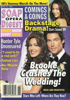 classicsodcovers:  Classic SOD Cover Date: June 30, 1998 Hunter Tylo & Ronn Moss (Taylor & Ridge, THE BOLD & THE BEAUTIFUL)(inset) Vanessa Marcil (Brenda, GENERAL HOSPITAL)