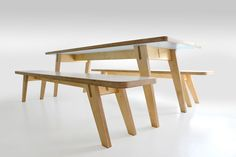 Birch plywood and laminate kitchen table and benches
