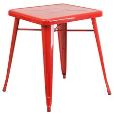 23.75'' Square Red Metal Indoor-Outdoor Table. Create a chic dining space with this industrial style table. The colorful table will add a retro-modern look to your home or eatery. This highly versatile Cafe Table is ideal for use in bistros, taverns, bars and restaurants. You can mix and match this style table with any metal chair, even using different colors. The top features an engraved designer print. A cross brace underneath the top adds extra stability. The legs have protective…