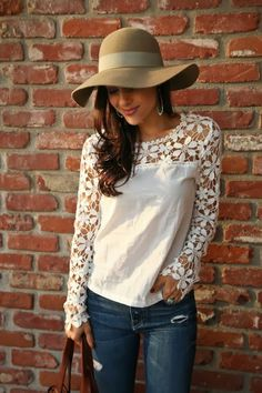 boho look with white cutout crochet top