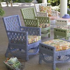 Natural rattan wicker is a natural choice for high-quality, long-lasting furniture. Because the material is both strong and flexible, rattan chairs embrace you with a unique, gentle flex as you sit Rattan, Wicker Chairs, Cane Chairs, Porch Chairs, Outdoor Rooms, Outdoor Living, Outdoor Decor, Outdoor Patios, Outdoor Kitchens