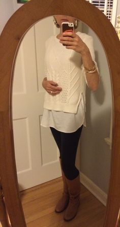 How to wear tight pants after fifty. Cropped sweater over longer blouse.