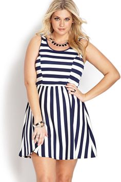 luv this dress Forever 21 FOREVER 21+ Sweet Stripe Scuba Knit Dress