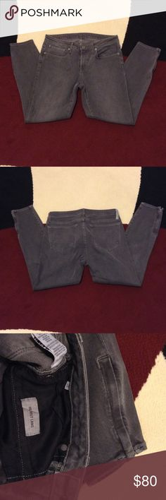 "HELMUT LANG GRAY JEANS Worn once; 24"" inseam; side zippers on leg bottoms Helmut Lang Jeans Ankle & Cropped"