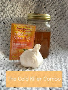 The Cold Killer Combo - all-natural cold remedy: garlic, raw honey, and Vitamin C. Seriously, I take raw garlic and honey whenever I get a cold. It works! Flu Remedies, Herbal Remedies, Health And Nutrition, Health And Wellness, Natural Cold Remedies, Healthy Tips, Stay Healthy, Healthy Habits, Natural Medicine