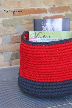 Panier crocheté en trapilho #crochet #trapilho