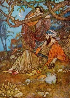 A loaf of bread, a jug of wine and thou Beside me singing in the wilderness -- And Wilderness is Paradise now. (Edmund Dulac Illustration from the Arabian Nights) Edmund Dulac, Art And Illustration, Book Illustrations, Rubaiyat Of Omar Khayyam, Harry Clarke, Arthur Rackham, Fairytale Art, Arabian Nights, Illustrators