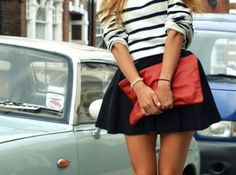 stripe sweater, skirt and clutch