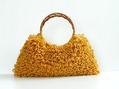 Crochet Handbag Shaggy Mustard