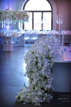 Four thousand Candles, mass arrangements, white roses, hydrangeas, orchids big floral arch. White Roses Wedding, Floral Arch, Event Company, Event Management, Flower Power, Orchids, Wedding Planner, Floral Design, Candles