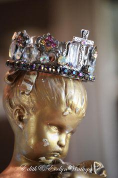 Statue Crown Rhinestone Cross Santos Vintage by edithandevelyn on Etsy