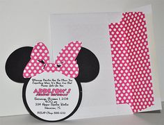 Minnie Mouse Birthday Invitation (INSPIRED) with matching lined envelope. Minnie Mouse Birthday Invitations, Party Invitations Kids, Minnie Birthday, First Birthday Parties, 2nd Birthday, First Birthdays, Birthday Ideas, Minnie Mouse Pink, Mickey Minnie Mouse