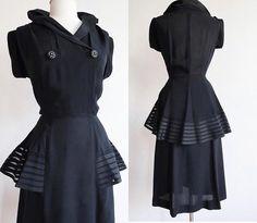 1940s Fashion-rayon crepe wiggle dress with fantastic mesh/silk ribbon peplum. Stunning 1940s Fashion Design/ 40s Style #1940s #1940sfashion #blackdress #40s #1940sstyle #womensfashion #fashiondesign #vintagestyle