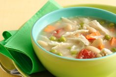 Hungry Chick Chunky Soup 1/10th of recipe (about 1 cup): 150 calories, 1g fat, 570mg sodium, 15g carbs, 4.25g fiber, 5g sugars, 20.5g protein